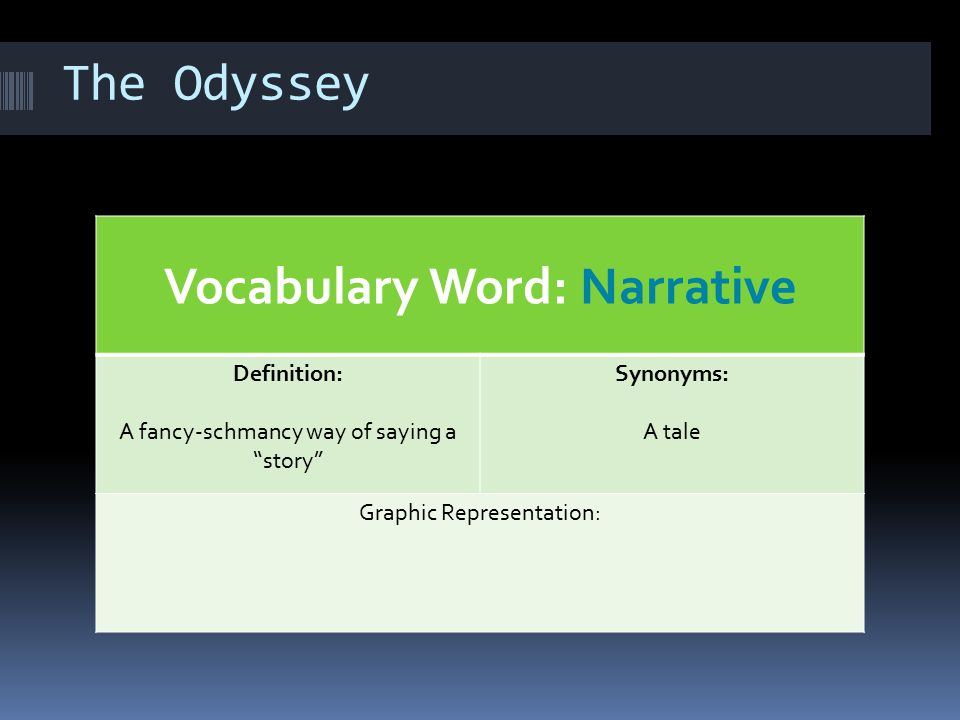 "The Odyssey Vocabulary Word: Narrative Definition: A fancy-schmancy way of saying a ""story"" Synonyms: A tale Graphic Representation:"