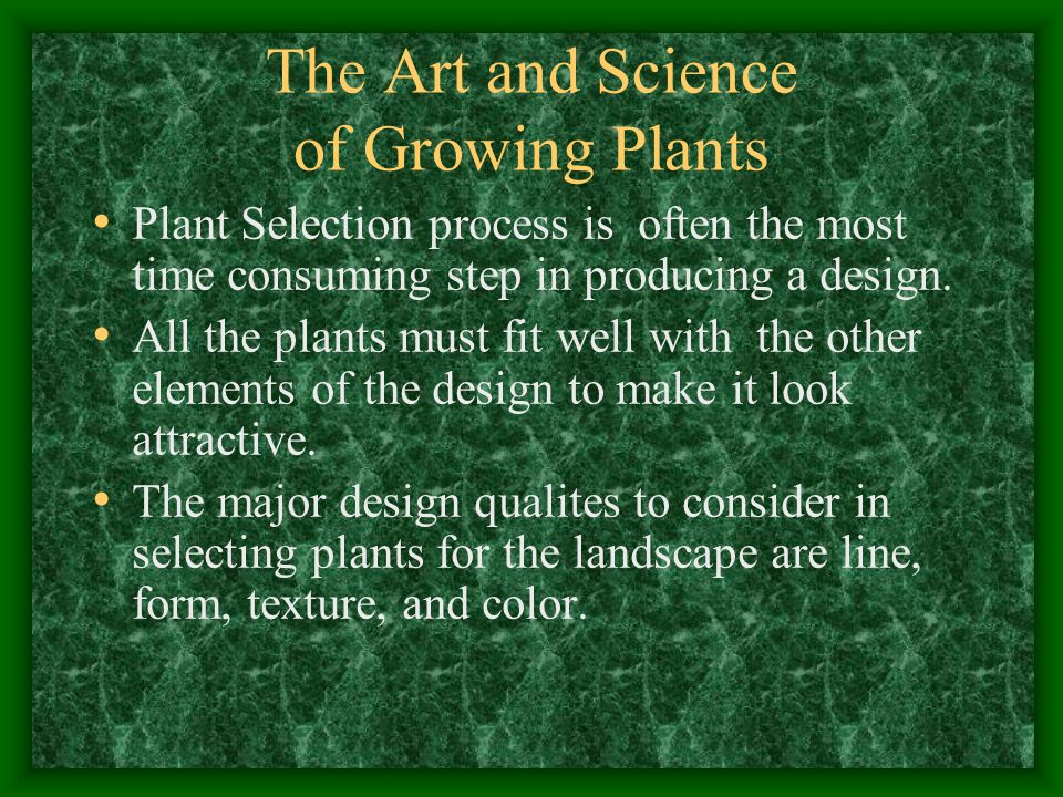 The Art and Science of Growing Plants What is line.