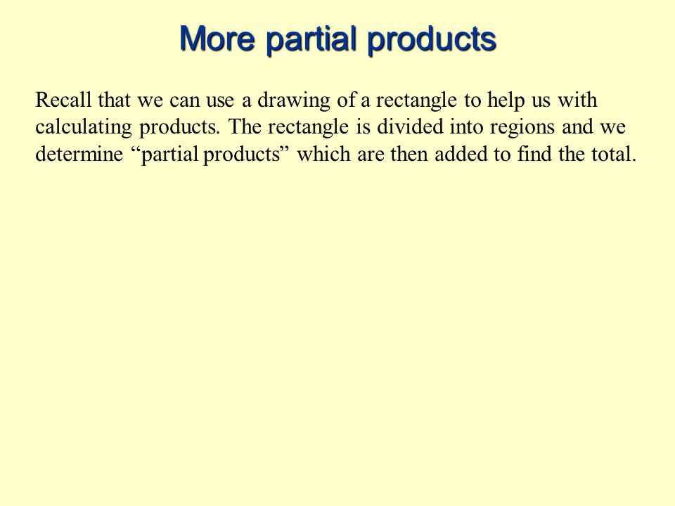 More partial products Recall that we can use a drawing of a rectangle to help us with calculating products.