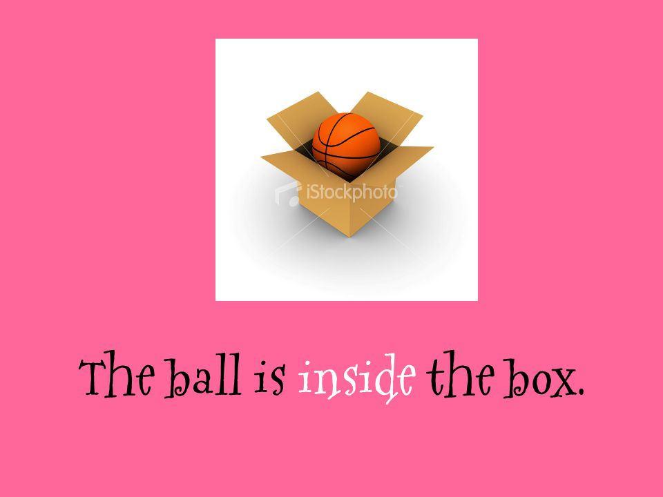 The ball is inside the box.