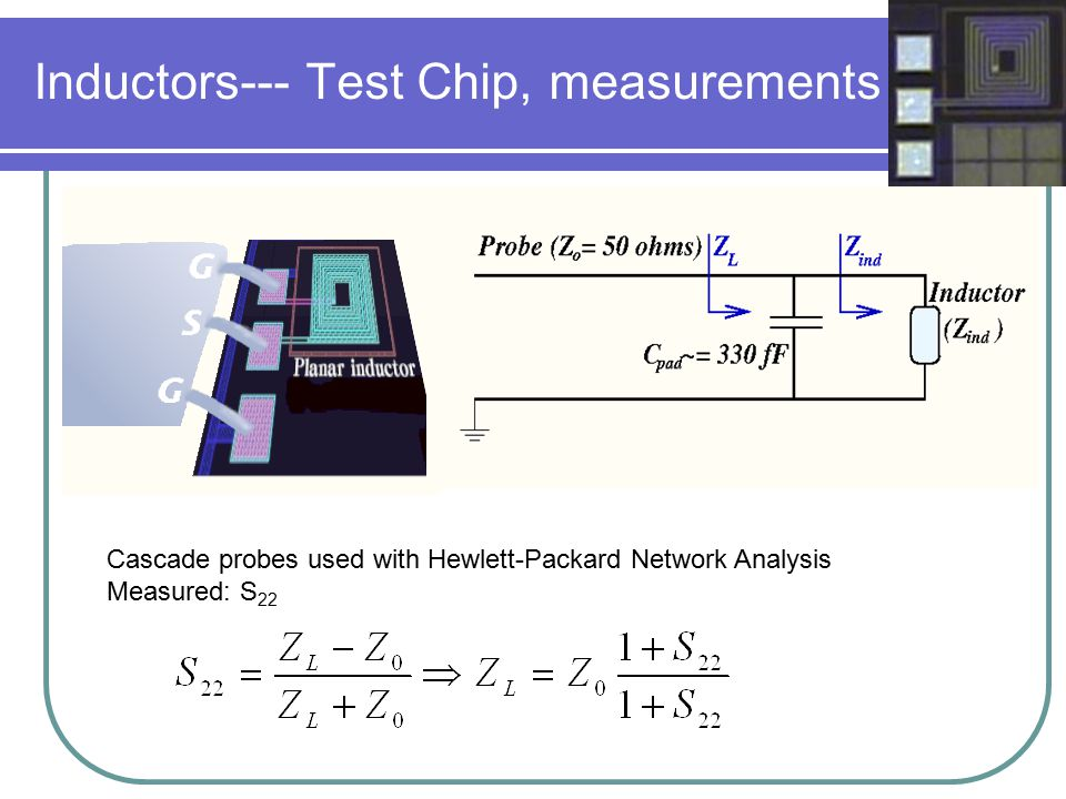 Inductors--- Test Chip, measurements Cascade probes used with Hewlett-Packard Network Analysis Measured: S 22