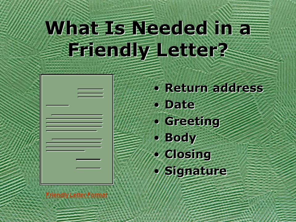 Writing a friendly letter objective today you will write a letter in your letter you will invite your friend over to your home to play a spiritdancerdesigns Image collections
