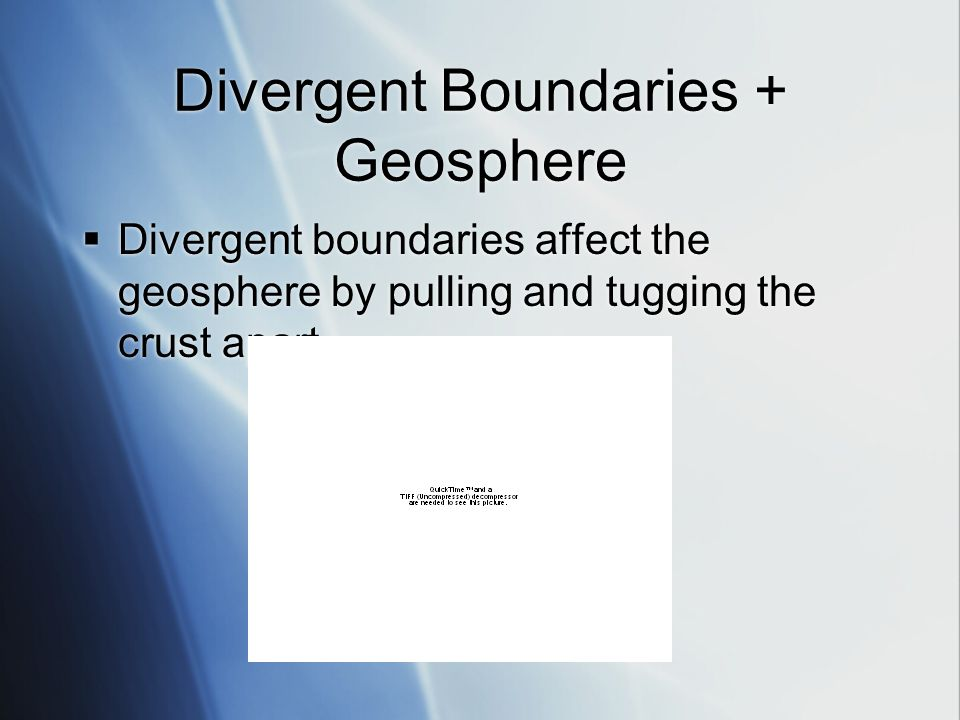 Divergent Boundaries + Geosphere  Divergent boundaries affect the geosphere by pulling and tugging the crust apart.