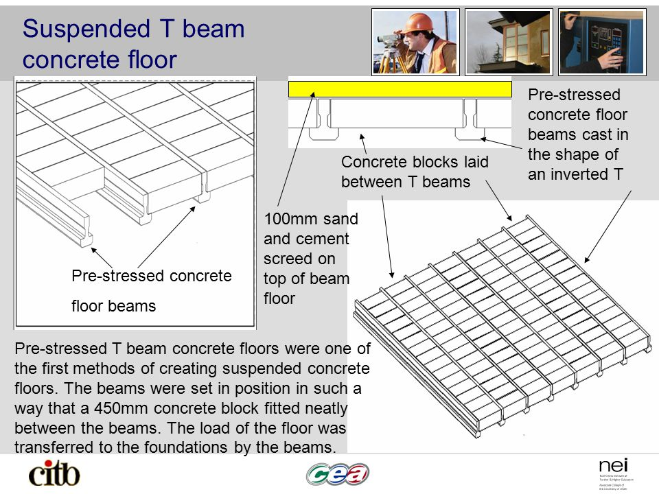 Suspended T beam concrete floor Pre-stressed concrete floor beams Concrete blocks laid between T beams Pre-stressed concrete floor beams cast in the s
