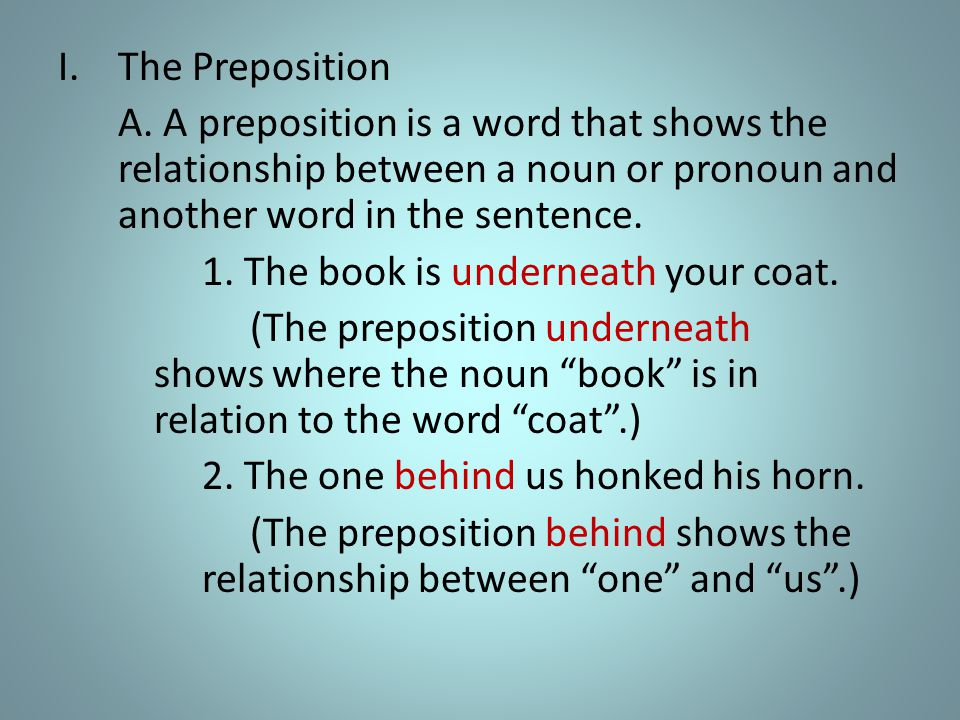 I.The Preposition A.