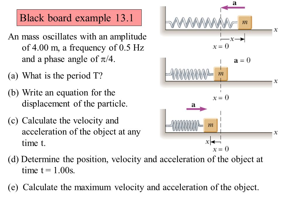 An mass oscillates with an amplitude of 4.00 m, a frequency of 0.5 Hz and a phase angle of  /4. (a)What is the period T? (b)Write an equation for the