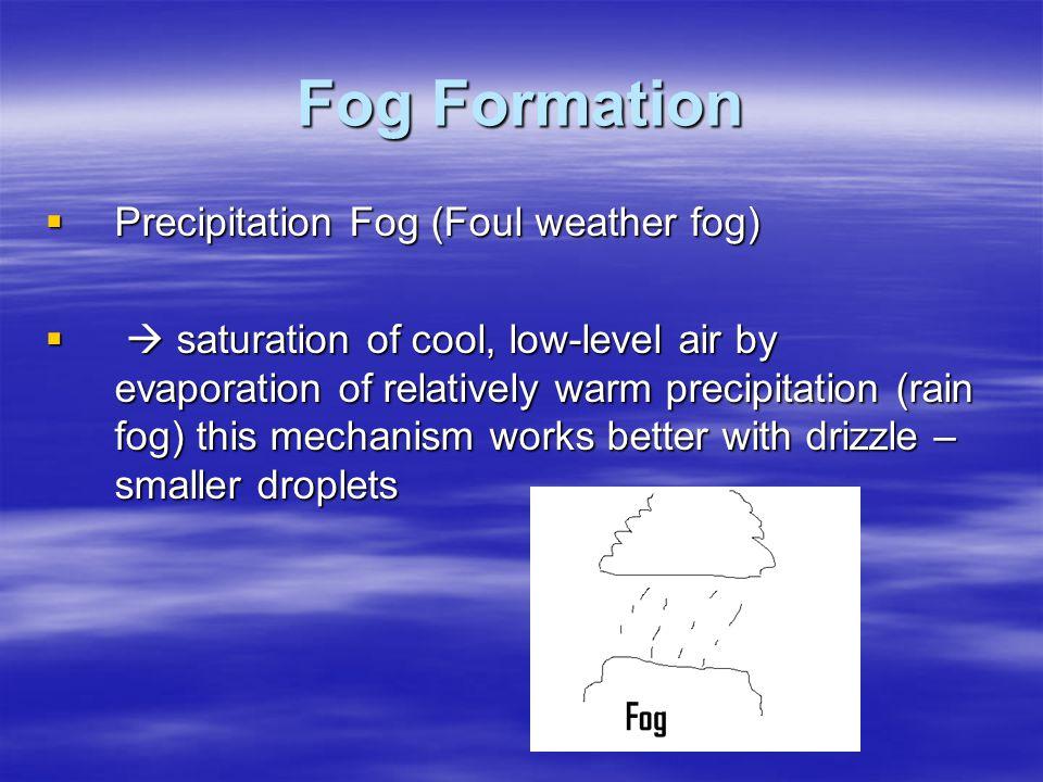 Fog Formation  Precipitation Fog (Foul weather fog)   saturation of cool, low-level air by evaporation of relatively warm precipitation (rain fog)