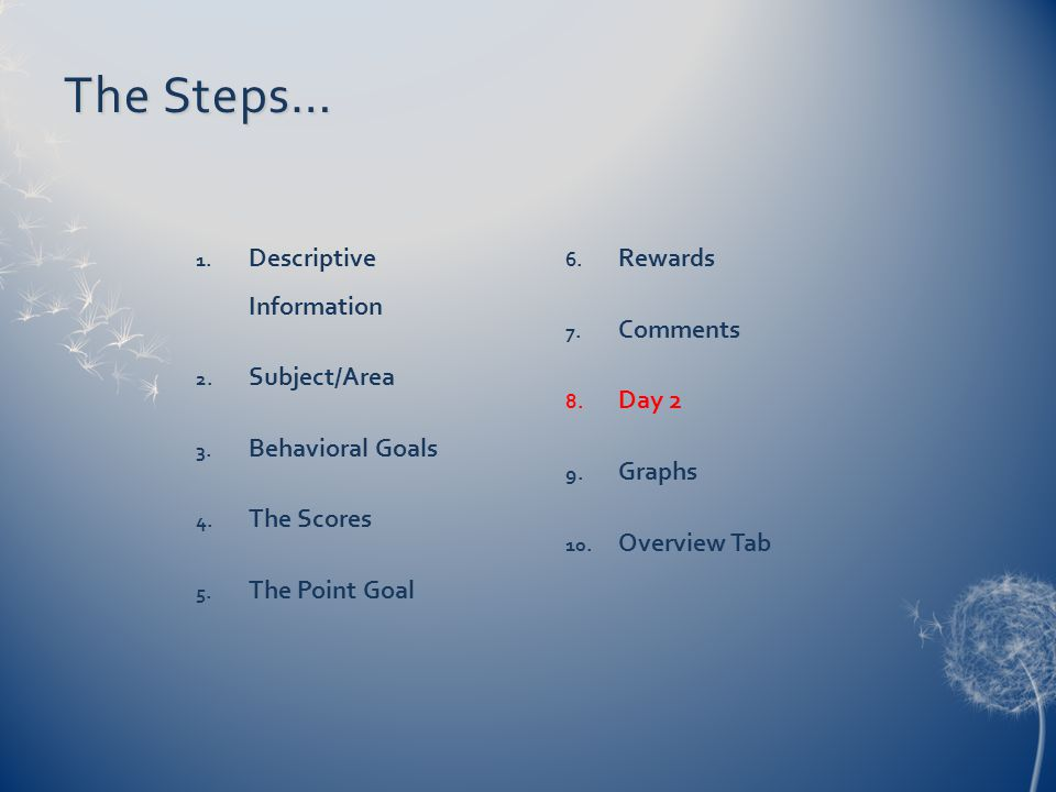 The Steps… 1. Descriptive Information 2. Subject/Area 3. Behavioral Goals 4. The Scores 5. The Point Goal 6. Rewards 7. Comments 8. Day 2 9. Graphs 10