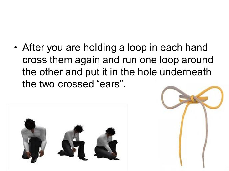 "After you are holding a loop in each hand cross them again and run one loop around the other and put it in the hole underneath the two crossed ""ears""."