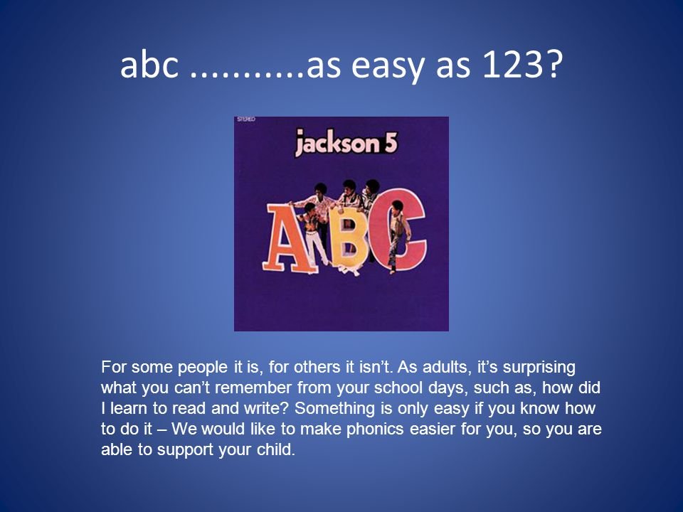 abc...........as easy as 123? For some people it is, for others it isn't. As adults, it's surprising what you can't remember from your school days, su