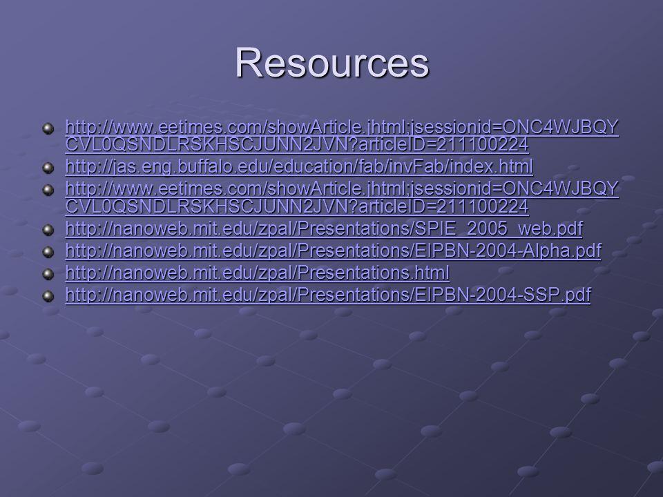 Resources http://www.eetimes.com/showArticle.jhtml;jsessionid=ONC4WJBQY CVL0QSNDLRSKHSCJUNN2JVN articleID=211100224 http://www.eetimes.com/showArticle.jhtml;jsessionid=ONC4WJBQY CVL0QSNDLRSKHSCJUNN2JVN articleID=211100224 http://jas.eng.buffalo.edu/education/fab/invFab/index.html http://www.eetimes.com/showArticle.jhtml;jsessionid=ONC4WJBQY CVL0QSNDLRSKHSCJUNN2JVN articleID=211100224 http://www.eetimes.com/showArticle.jhtml;jsessionid=ONC4WJBQY CVL0QSNDLRSKHSCJUNN2JVN articleID=211100224 http://nanoweb.mit.edu/zpal/Presentations/SPIE_2005_web.pdf http://nanoweb.mit.edu/zpal/Presentations/EIPBN-2004-Alpha.pdf http://nanoweb.mit.edu/zpal/Presentations.html http://nanoweb.mit.edu/zpal/Presentations/EIPBN-2004-SSP.pdf