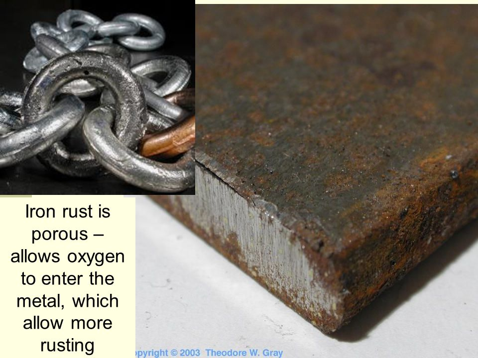 Iron rust is porous – allows oxygen to enter the metal, which allow more rusting