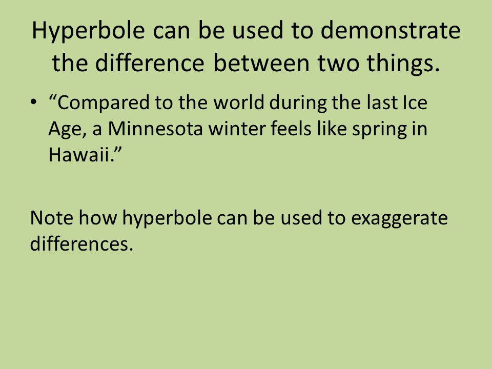 Guided Practice: Write a statement using hyperbole about the following topics; consider the best and worst thing you could say about the topic, then exaggerate your statement.
