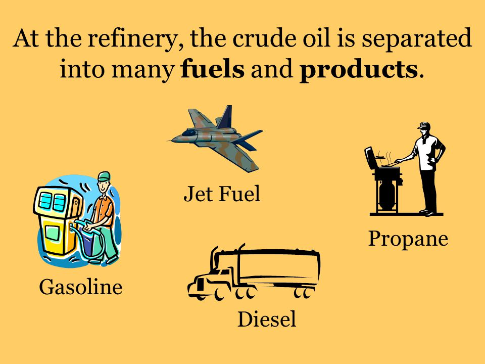 At the refinery, the crude oil is separated into many fuels and products. Diesel Gasoline Jet Fuel Propane