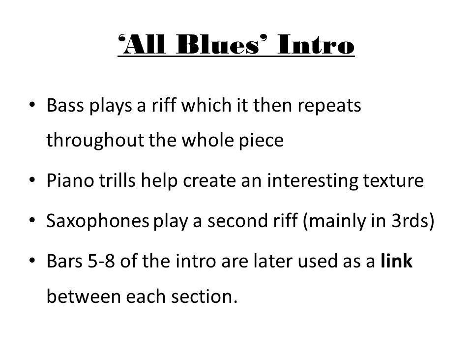 'All Blues' 12-Bar Chords All blues uses a more complex progression than a traditional 12-bar blues.