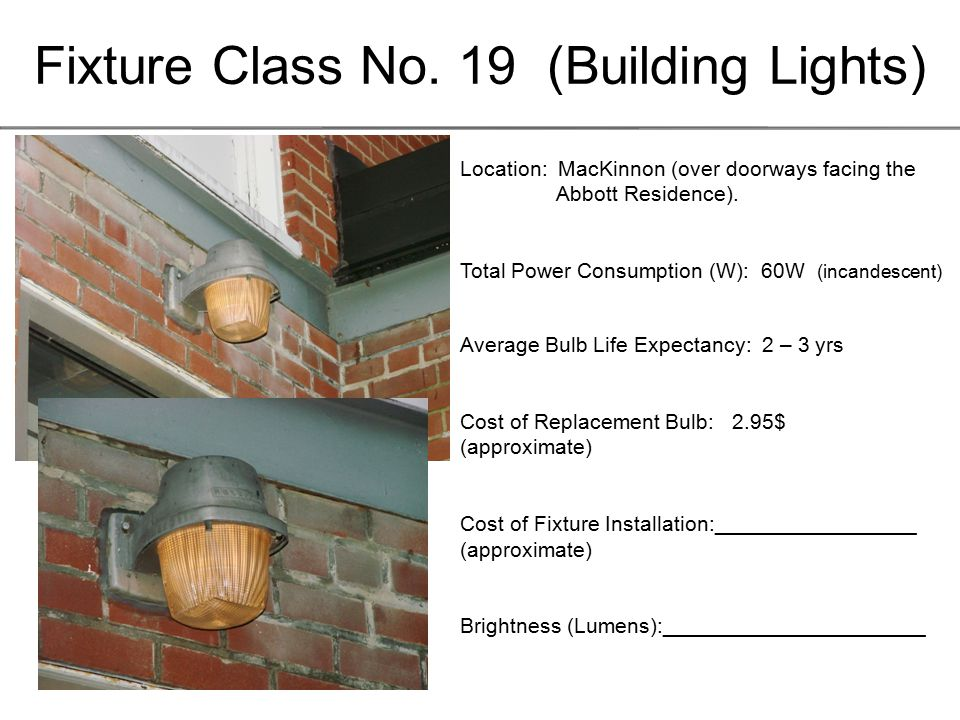 Fixture Class No. 19 (Building Lights) Location: MacKinnon (over doorways facing the Abbott Residence). Total Power Consumption (W): 60W (incandescent