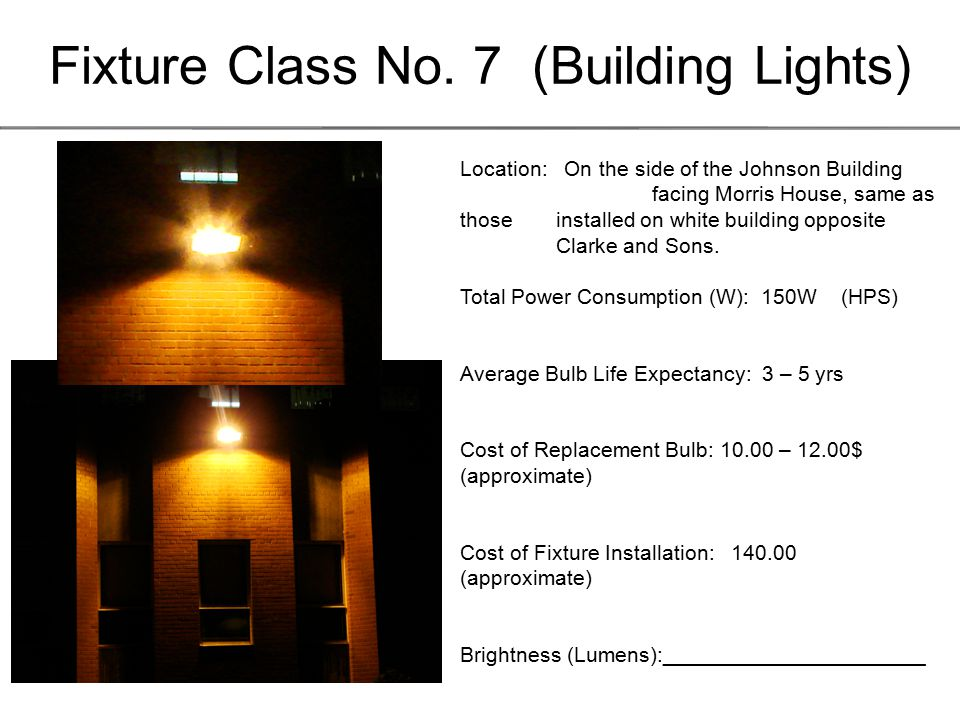 Fixture Class No.8 (Building Lights) Location: In front of the Farm management building (hangar).