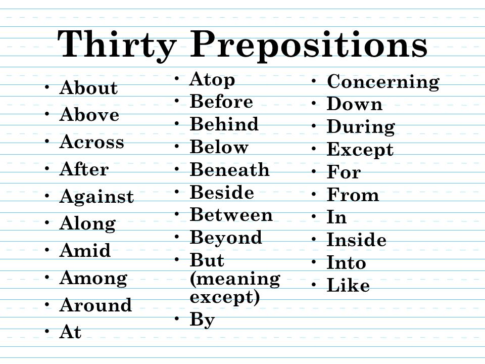 Quiz #3 Using the paper provided: – Put your name and date it – Number one to thirty – List thirty prepositions