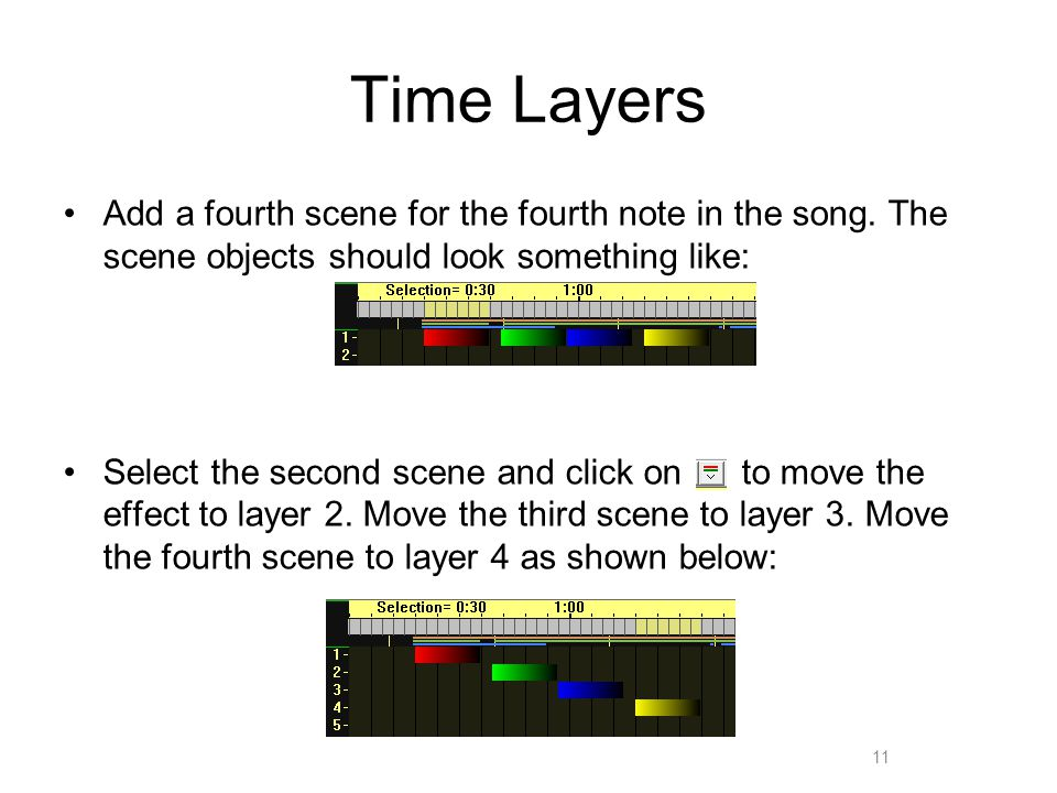 Time Layers Add a fourth scene for the fourth note in the song.