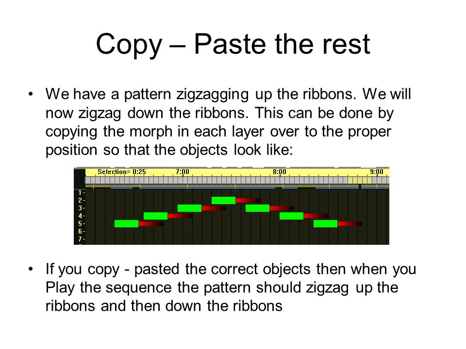 Copy – Paste the rest We have a pattern zigzagging up the ribbons.