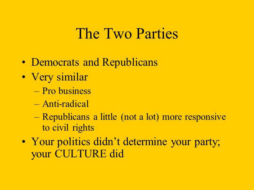 The Two Parties Democrats and Republicans Very similar –Pro business –Anti-radical –Republicans a little (not a lot) more responsive to civil rights Your politics didn't determine your party; your CULTURE did