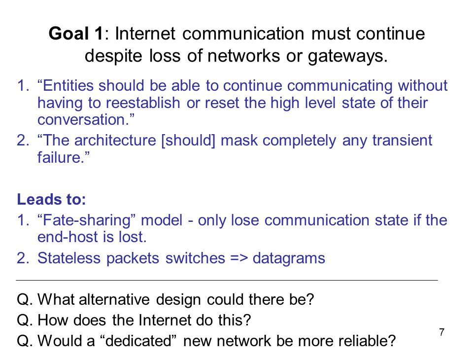 7 Goal 1: Internet communication must continue despite loss of networks or gateways.