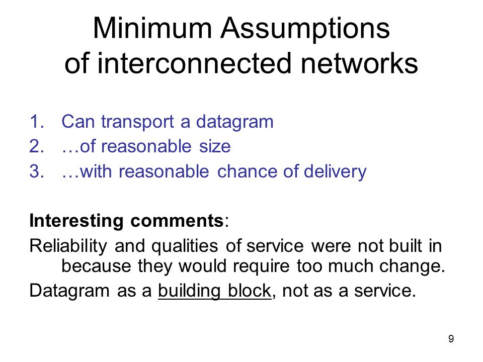 10 Other discussion questions 1.Originally TCP+IP were joined, but were later split.