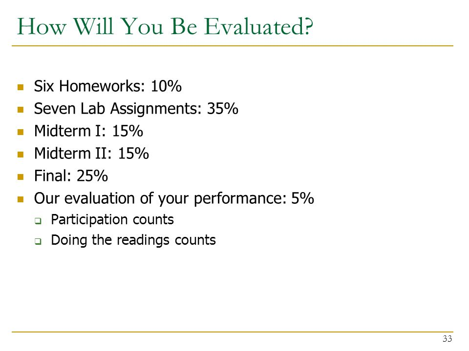 How Will You Be Evaluated? Six Homeworks: 10% Seven Lab Assignments: 35% Midterm I: 15% Midterm II: 15% Final: 25% Our evaluation of your performance: