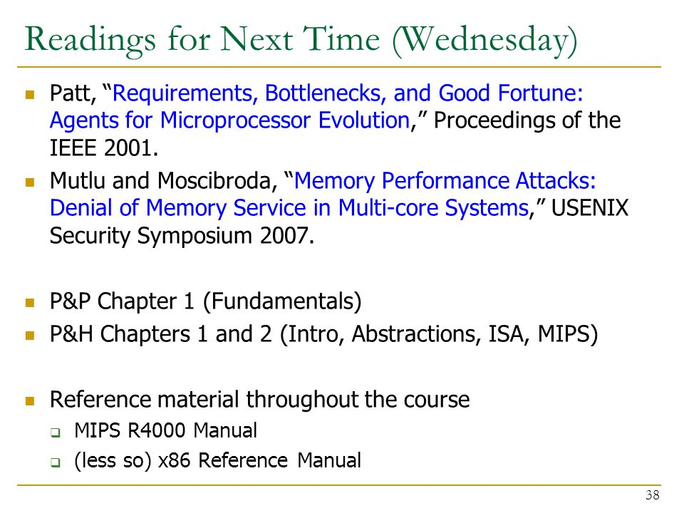 "Readings for Next Time (Wednesday) Patt, ""Requirements, Bottlenecks, and Good Fortune: Agents for Microprocessor Evolution,"" Proceedings of the IEEE 2"