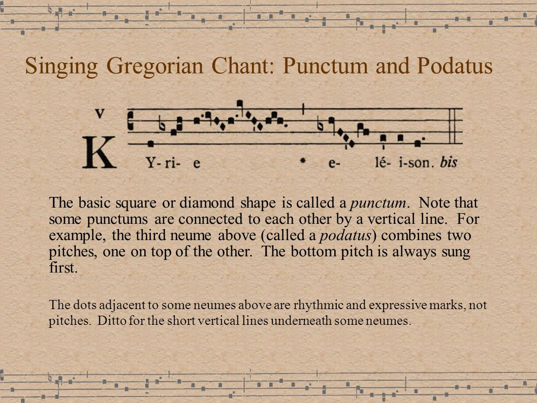 Singing Gregorian Chant: Punctum and Podatus The basic square or diamond shape is called a punctum.