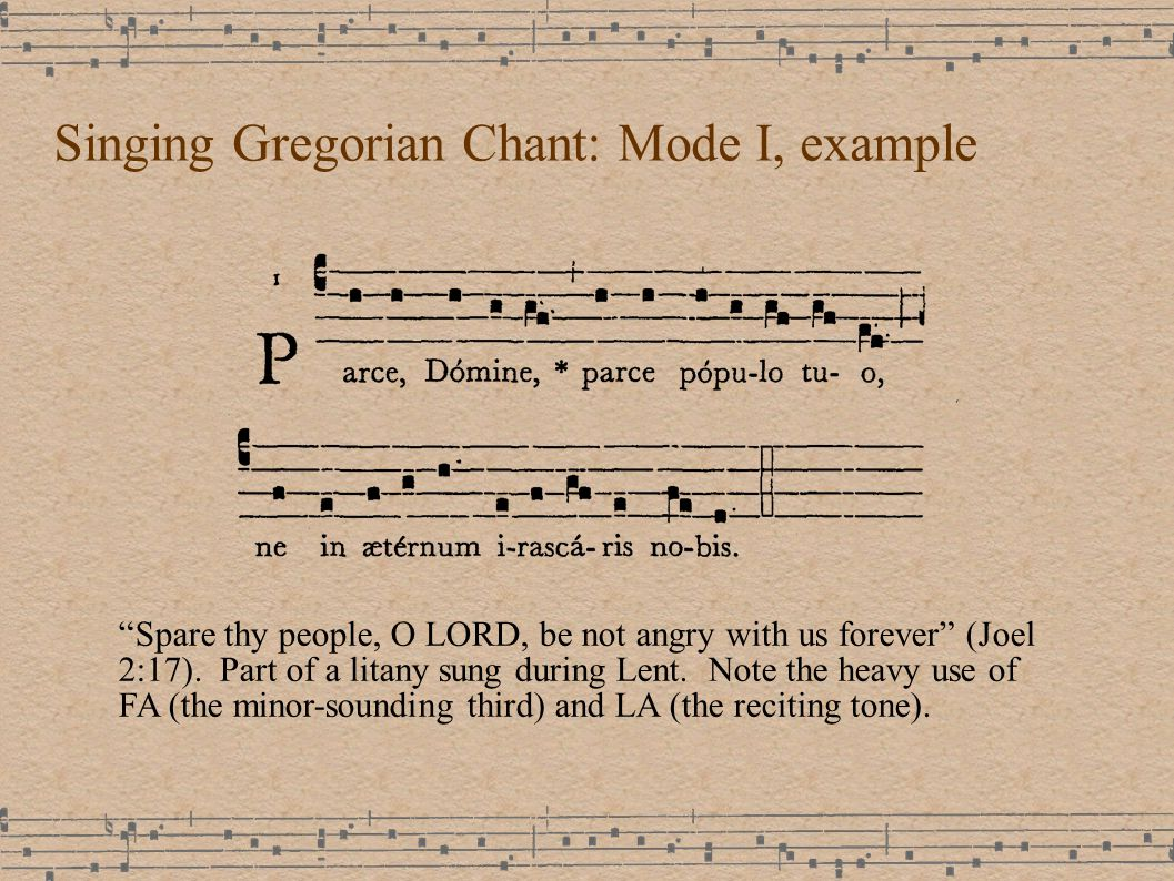 Singing Gregorian Chant: Mode I, example Spare thy people, O LORD, be not angry with us forever (Joel 2:17).