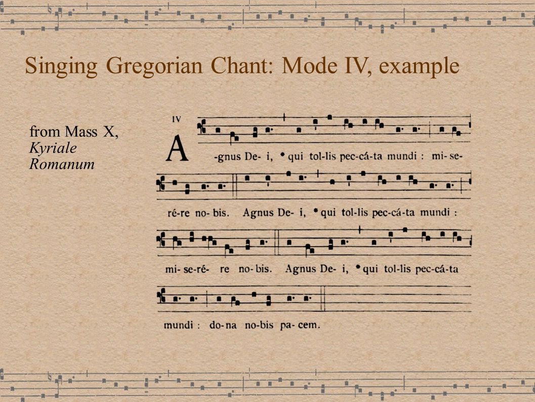 Singing Gregorian Chant: Mode IV, example from Mass X, Kyriale Romanum