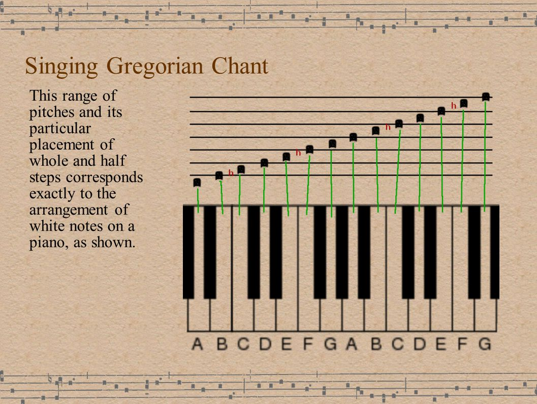Singing Gregorian Chant This range of pitches and its particular placement of whole and half steps corresponds exactly to the arrangement of white notes on a piano, as shown.