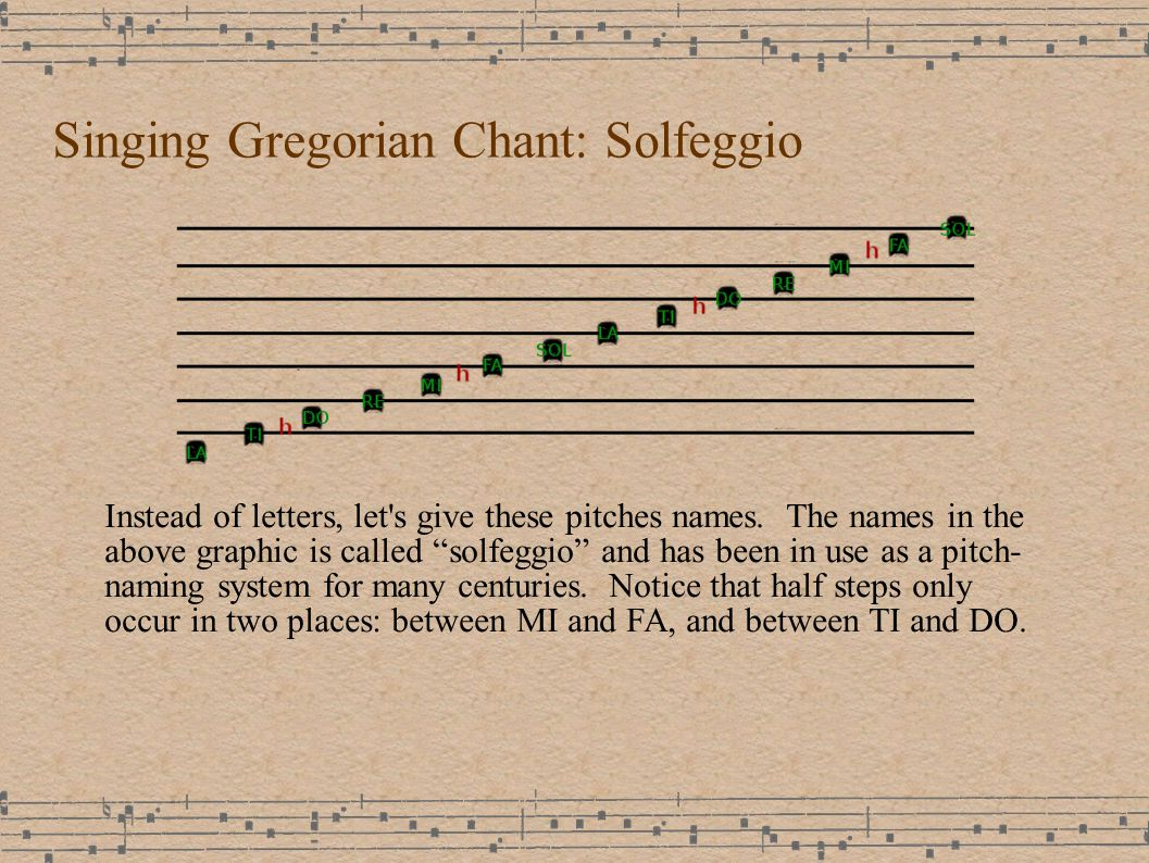 Singing Gregorian Chant: Solfeggio Instead of letters, let s give these pitches names.