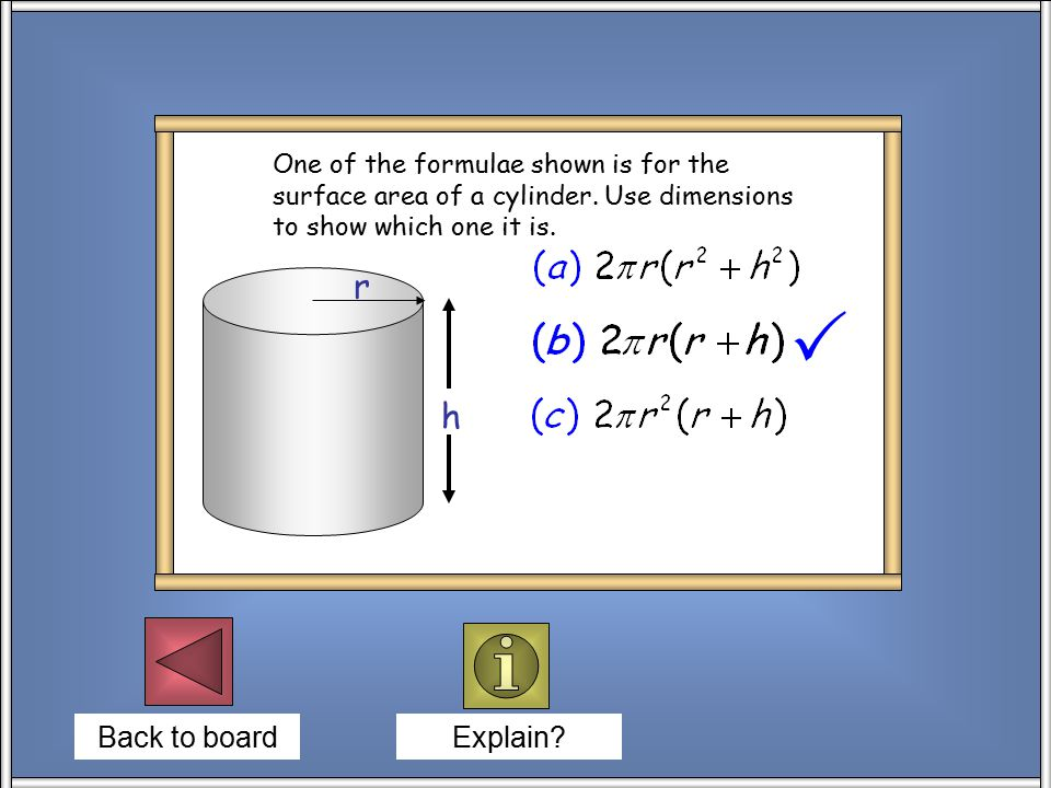 Back to board Explain. One of the formulae shown is for the surface area of a cylinder.