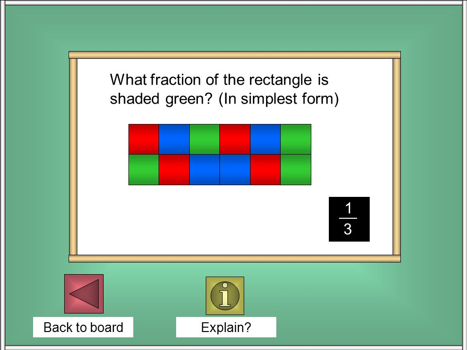 Back to board What fraction of the rectangle is shaded green.