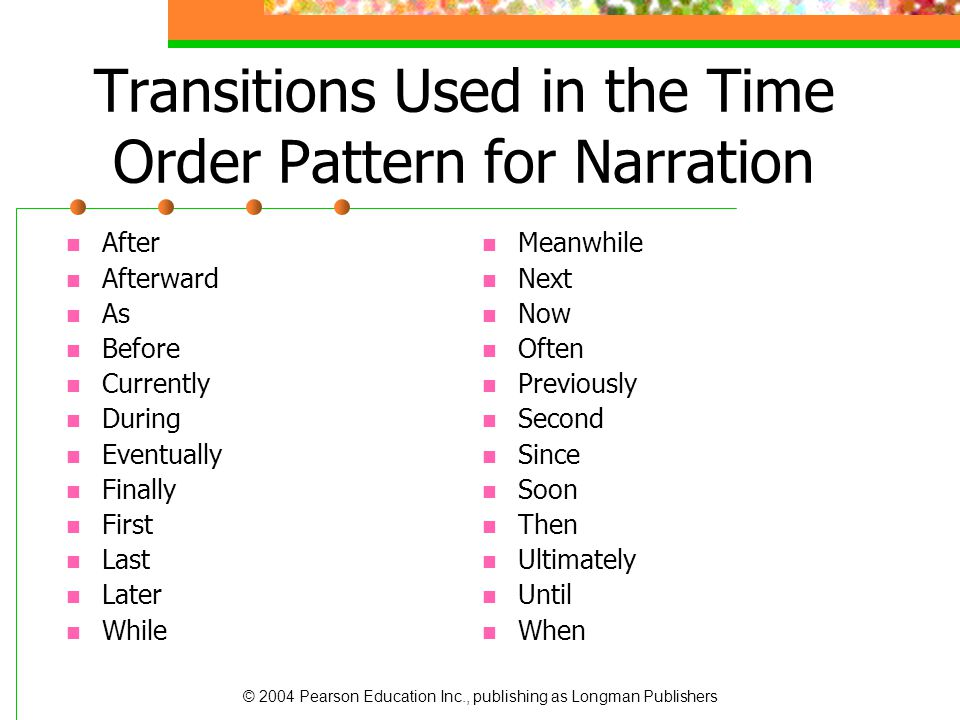 © 2004 Pearson Education Inc., publishing as Longman Publishers Transitions Used in the Time Order Pattern for Narration After Afterward As Before Cur