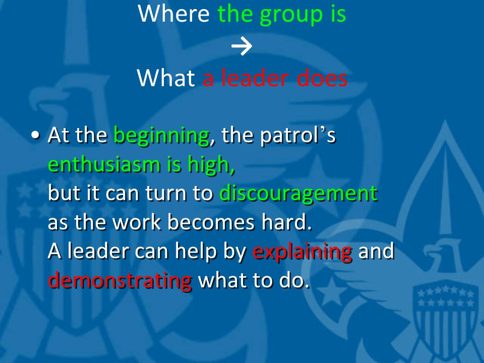 Where the group is → What a leader does At the beginning, the patrol ' s enthusiasm is high, but it can turn to discouragement as the work becomes hard.