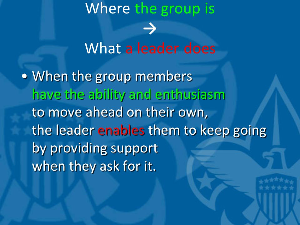 Where the group is → What a leader does When the group members have the ability and enthusiasm to move ahead on their own, the leader enables them to