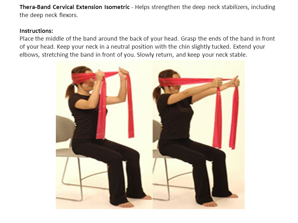 Thera-Band Cervical Extension Isometric - Helps strengthen the deep neck stabilizers, including the deep neck flexors. Instructions: Place the middle