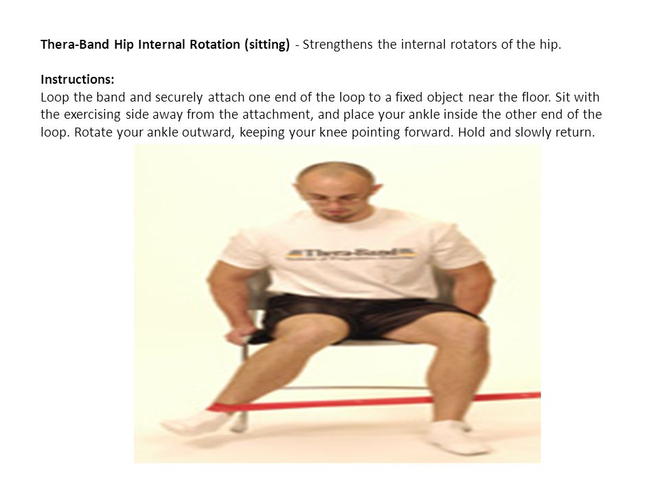 Thera-Band Hip Internal Rotation (sitting) - Strengthens the internal rotators of the hip. Instructions: Loop the band and securely attach one end of