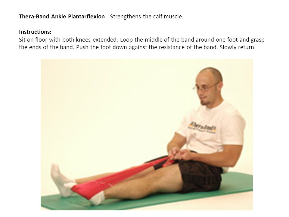 Thera-Band Ankle Plantarflexion - Strengthens the calf muscle. Instructions: Sit on floor with both knees extended. Loop the middle of the band around