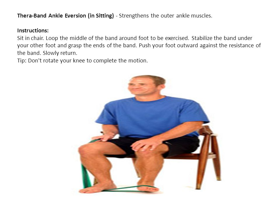 Thera-Band Ankle Eversion (in Sitting) - Strengthens the outer ankle muscles. Instructions: Sit in chair. Loop the middle of the band around foot to b