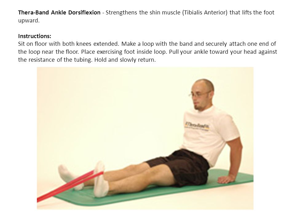 Thera-Band Ankle Dorsiflexion - Strengthens the shin muscle (Tibialis Anterior) that lifts the foot upward. Instructions: Sit on floor with both knees