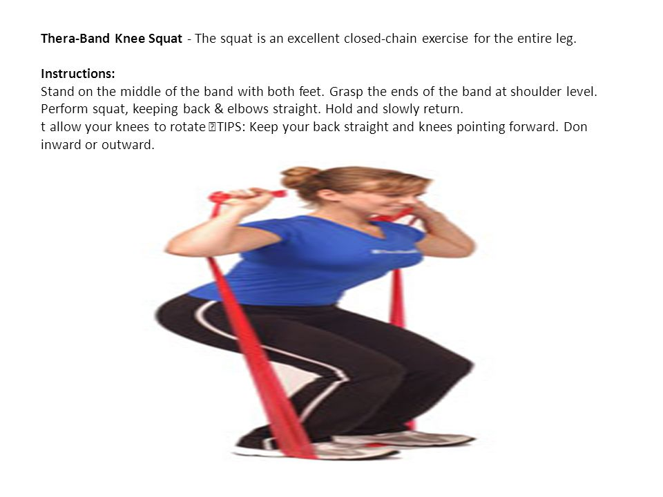 Thera-Band Knee Squat - The squat is an excellent closed-chain exercise for the entire leg. Instructions: Stand on the middle of the band with both fe