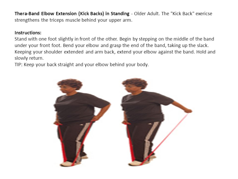 Thera-Band Elbow Extension (Kick Backs) in Standing - Older Adult. The