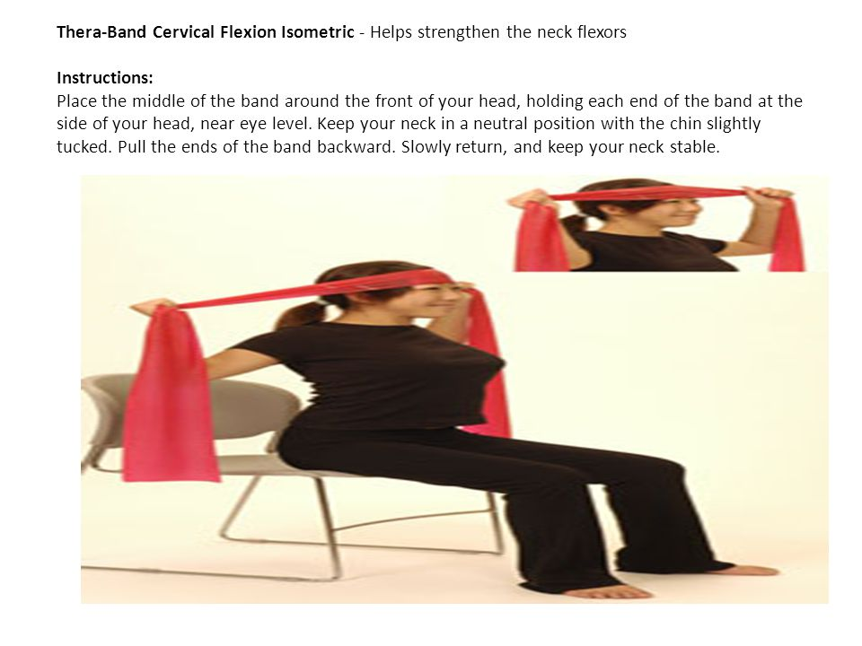 Thera-Band Cervical Flexion Isometric - Helps strengthen the neck flexors Instructions: Place the middle of the band around the front of your head, ho