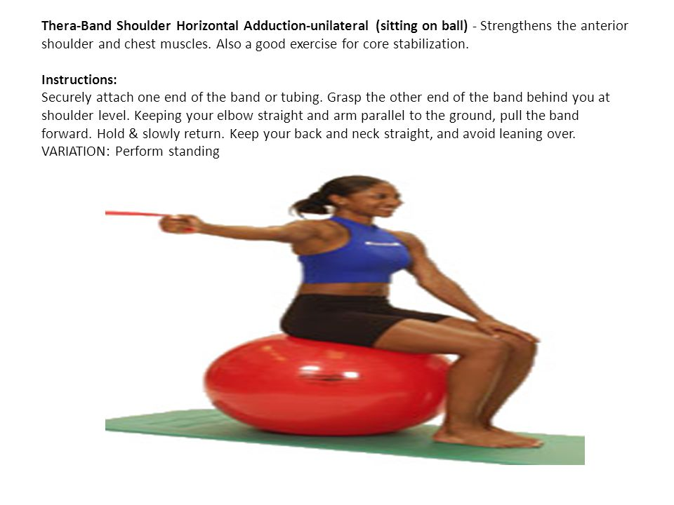 Thera-Band Shoulder Horizontal Adduction-unilateral (sitting on ball) - Strengthens the anterior shoulder and chest muscles. Also a good exercise for