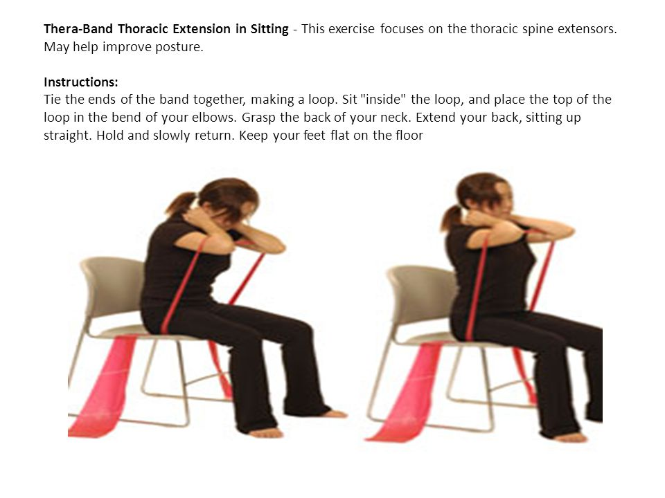 Thera-Band Thoracic Extension in Sitting - This exercise focuses on the thoracic spine extensors. May help improve posture. Instructions: Tie the ends