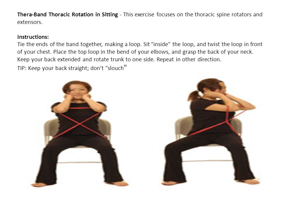 Thera-Band Thoracic Rotation in Sitting - This exercise focuses on the thoracic spine rotators and extensors. Instructions: Tie the ends of the band t
